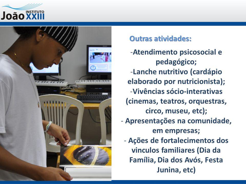 Outras atividades: -Atendimento psicosocial e pedagógico; -Lanche nutritivo (cardápio elaborado por nutricionista); -Vivências sócio-interativas (cine