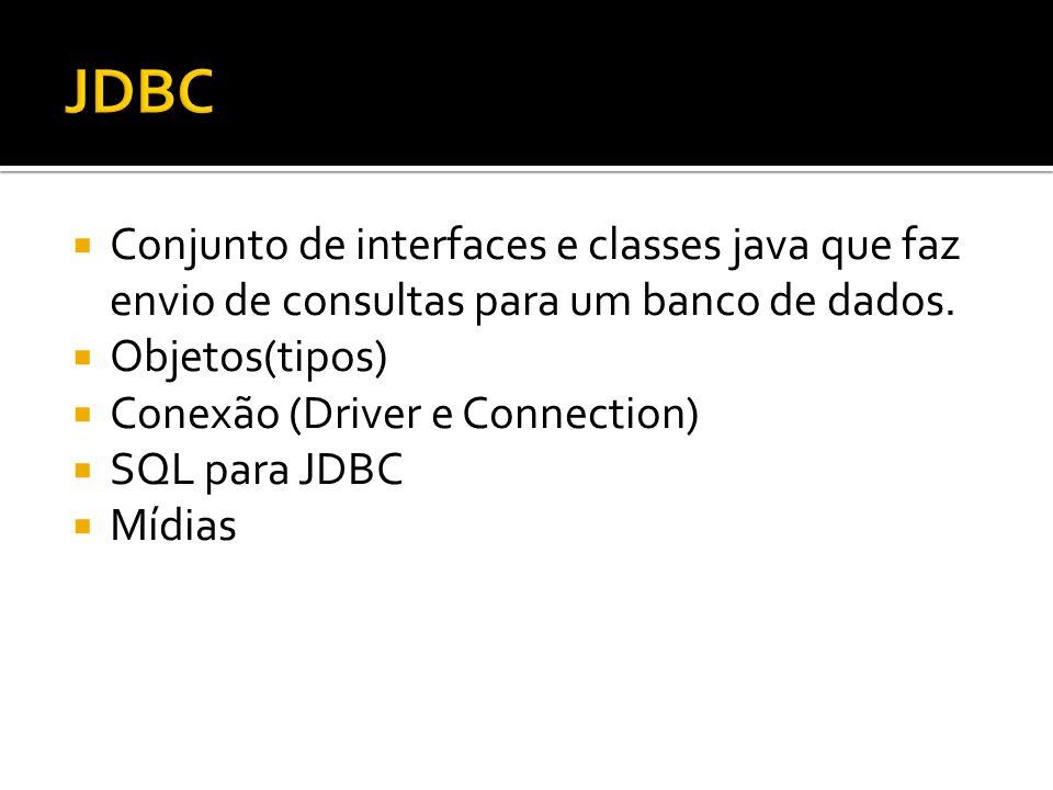  Driver: interface utilizada por toda aplicação que precise acessar um BD.
