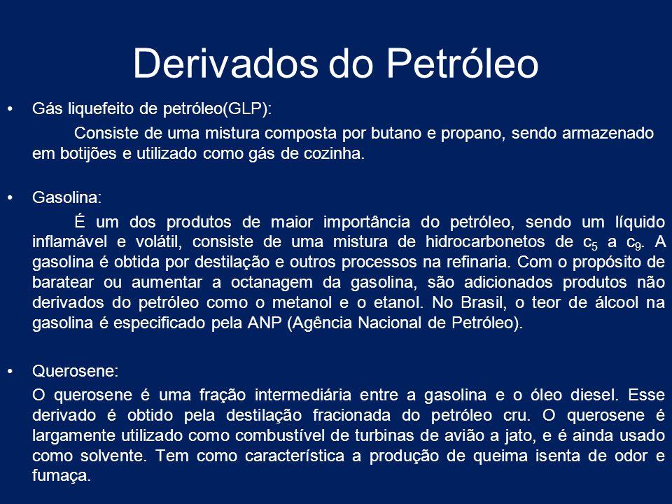 Derivados do Petróleo Gás liquefeito de petróleo(GLP): Consiste de uma mistura composta por butano e propano, sendo armazenado em botijões e utilizado