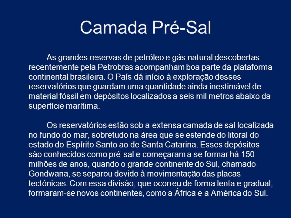 Camada Pré-Sal As grandes reservas de petróleo e gás natural descobertas recentemente pela Petrobras acompanham boa parte da plataforma continental br