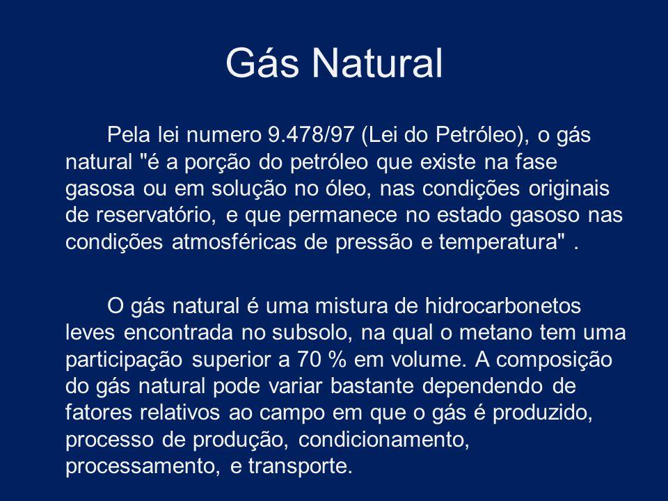 Gás Natural Pela lei numero 9.478/97 (Lei do Petróleo), o gás natural