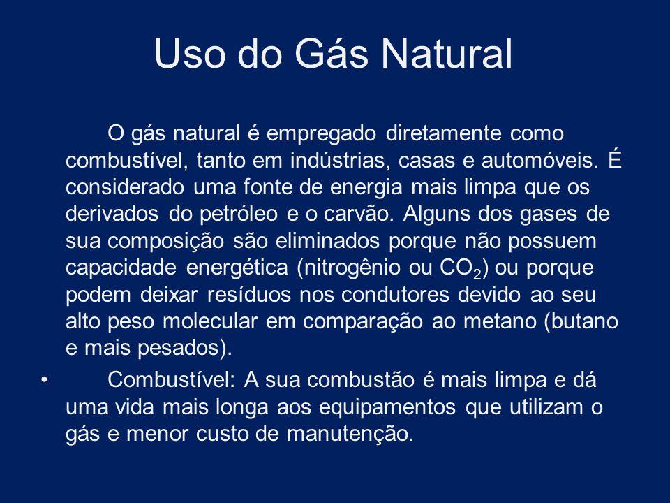 Uso do Gás Natural O gás natural é empregado diretamente como combustível, tanto em indústrias, casas e automóveis. É considerado uma fonte de energia