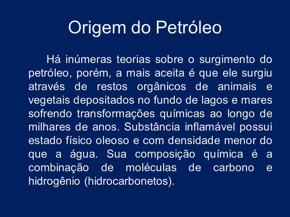 Origem do Petróleo Há inúmeras teorias sobre o surgimento do petróleo, porém, a mais aceita é que ele surgiu através de restos orgânicos de animais e