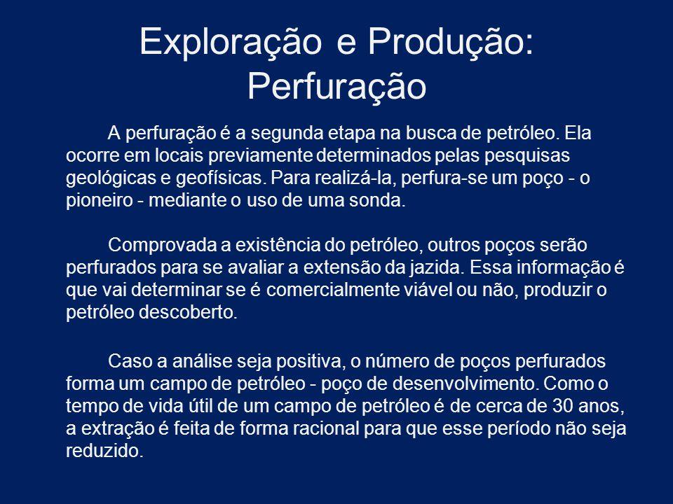 Exploração e Produção: Perfuração A perfuração é a segunda etapa na busca de petróleo. Ela ocorre em locais previamente determinados pelas pesquisas g