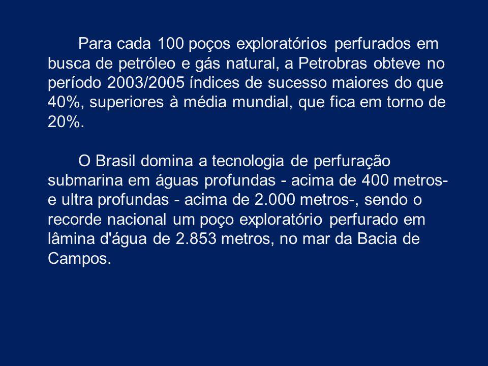 Para cada 100 poços exploratórios perfurados em busca de petróleo e gás natural, a Petrobras obteve no período 2003/2005 índices de sucesso maiores do