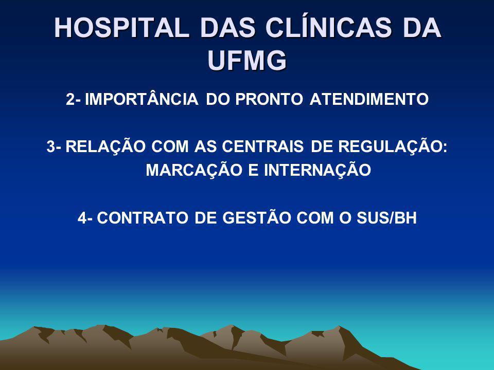 INSERÇÃO DO HC/UFMG NO SUS 1- PAPÉIS DE REFERÊNCIA PRODUÇÃO DO CUIDADO E REFERÊNCIA PARA ATENDIMENTO DE URGÊNCIA, TRANSPLANTES, MATERNO-INFANTIL, ONCO-HEMATOLOGIA, AIDS, FIBROSE CÍSTICA, REPRODUÇÃO HUMANA PRODUÇÃO DE NOVAS TECNOLOGIAS EM SAÚDE BALISAMENTO DE PROCEDIMENTOS E DE TECNOLOGIAS EM SAÚDE FORMAÇÃO DE RECURSOS HUMANOS