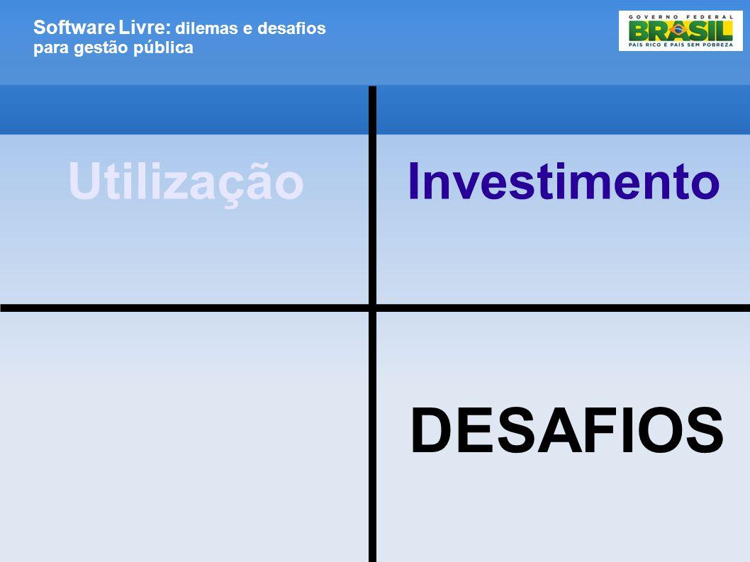 Software Livre: dilemas e desafios para gestão pública DESAFIOS UtilizaçãoInvestimento