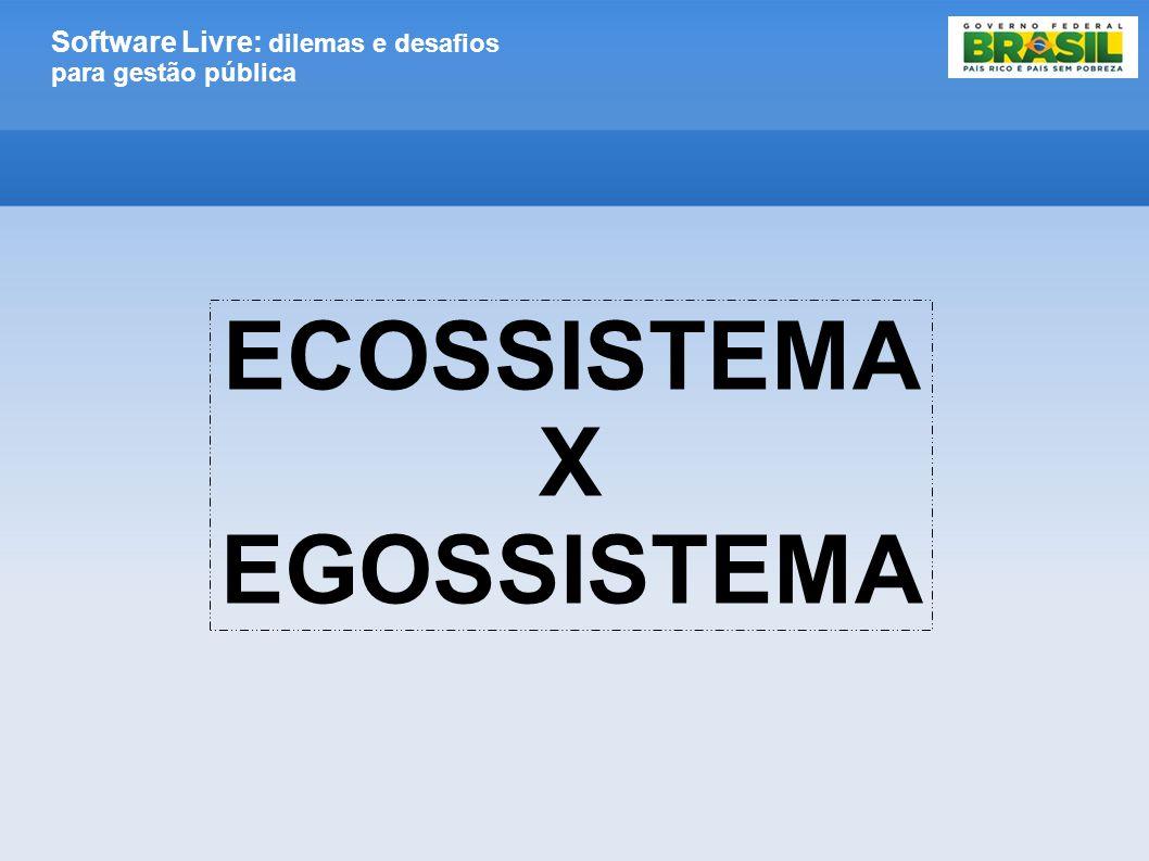 Software Livre: dilemas e desafios para gestão pública ECOSSISTEMA X EGOSSISTEMA