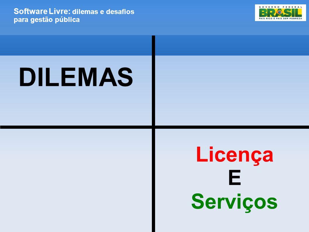 Software Livre: dilemas e desafios para gestão pública DILEMAS Licença E Serviços
