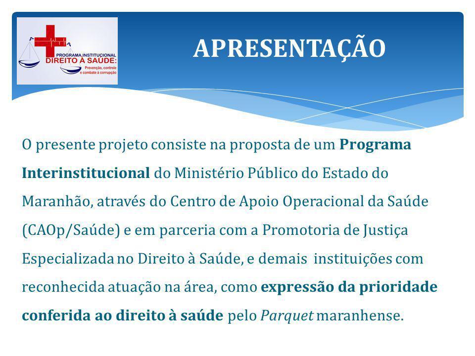 A proposta está alinhada com o objetivo definido no Planejamento Estratégico do Ministério Público do Estado do Maranhão 2012-2016, de implementar e efetivar as Políticas Públicas de Saúde.