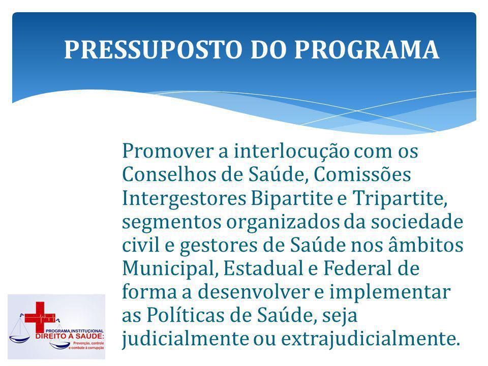 Três linhas de atuação ministerial, junto às macrorregiões e regiões de saúde de forma a garantir o atendimento à saúde nos municípios que são considerados referência para os demais municípios que compõem as regionais.