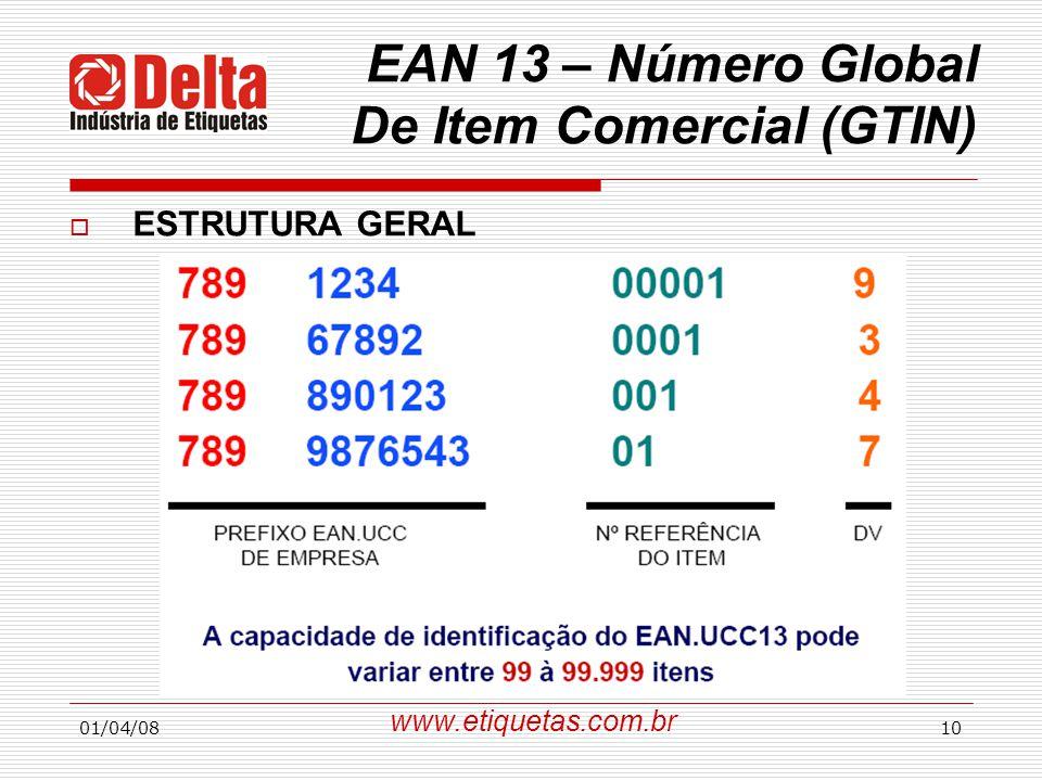 01/04/0810 EAN 13 – Número Global De Item Comercial (GTIN)  ESTRUTURA GERAL www.etiquetas.com.br