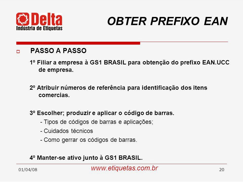 01/04/0820 OBTER PREFIXO EAN 1º Filiar a empresa à GS1 BRASIL para obtenção do prefixo EAN.UCC de empresa. 2º Atribuir números de referência para iden