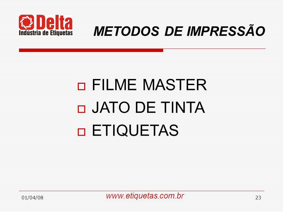 01/04/0823 METODOS DE IMPRESSÃO  FILME MASTER  JATO DE TINTA  ETIQUETAS www.etiquetas.com.br