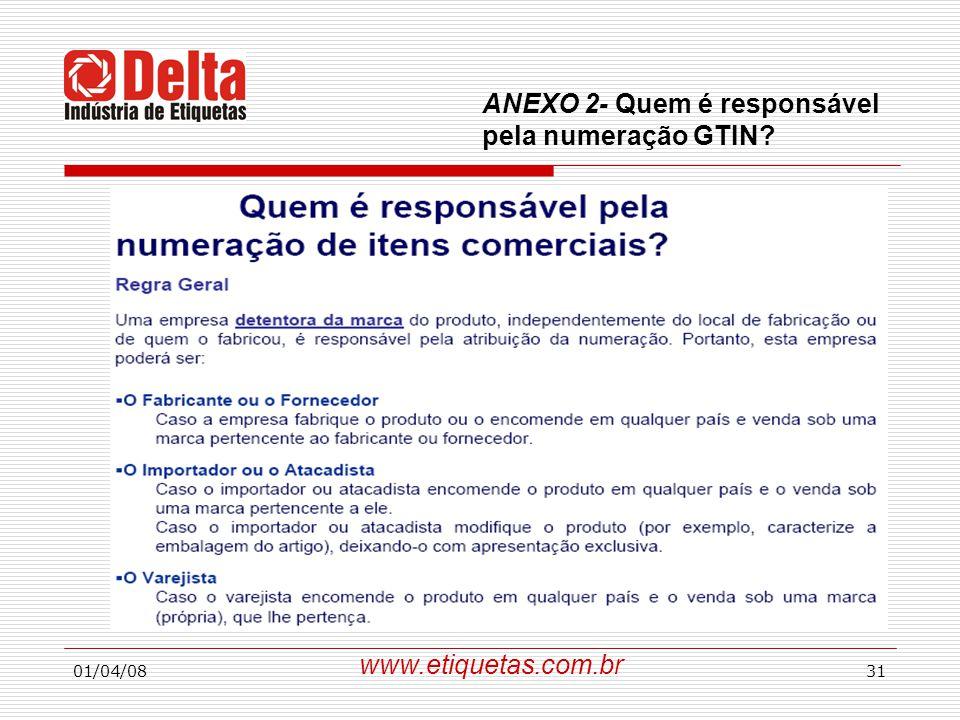01/04/0831 www.etiquetas.com.br ANEXO 2- Quem é responsável pela numeração GTIN?
