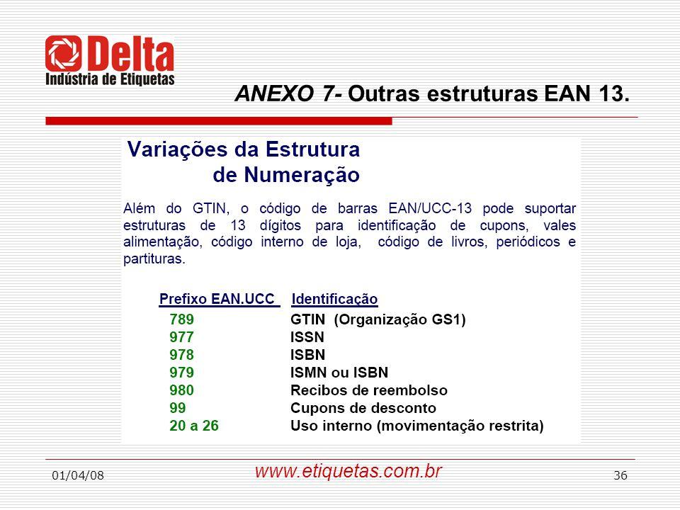01/04/0836 www.etiquetas.com.br ANEXO 7- Outras estruturas EAN 13.