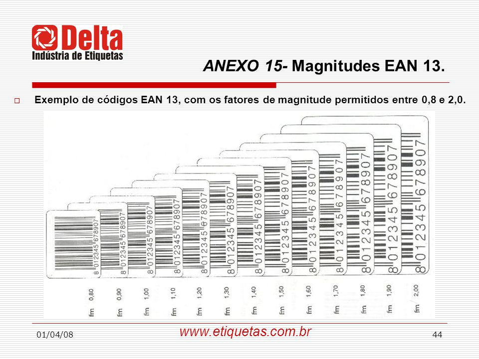 01/04/0844  Exemplo de códigos EAN 13, com os fatores de magnitude permitidos entre 0,8 e 2,0.
