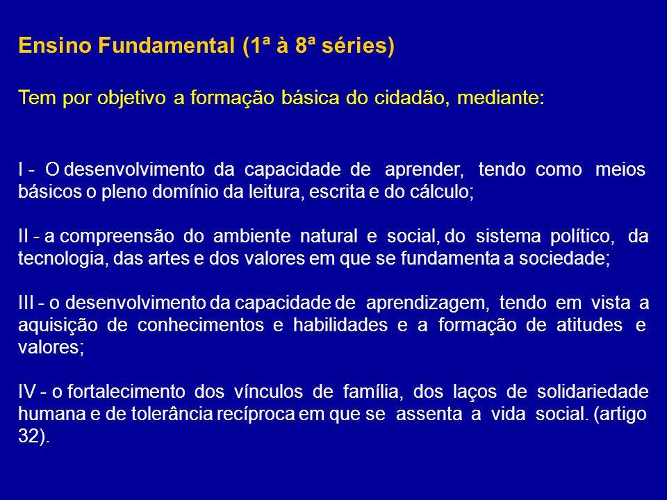 Ensino Fundamental (1ª à 8ª séries) Tem por objetivo a formação básica do cidadão, mediante: I - O desenvolvimento da capacidade de aprender, tendo co