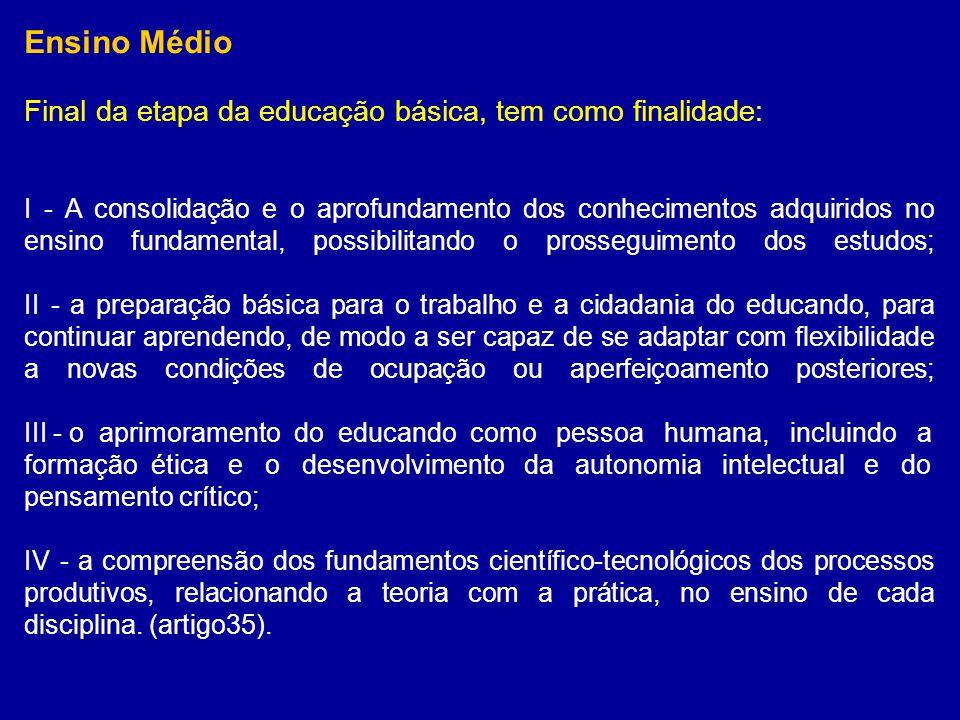 Ensino Médio Final da etapa da educação básica, tem como finalidade: I - A consolidação e o aprofundamento dos conhecimentos adquiridos no ensino fund