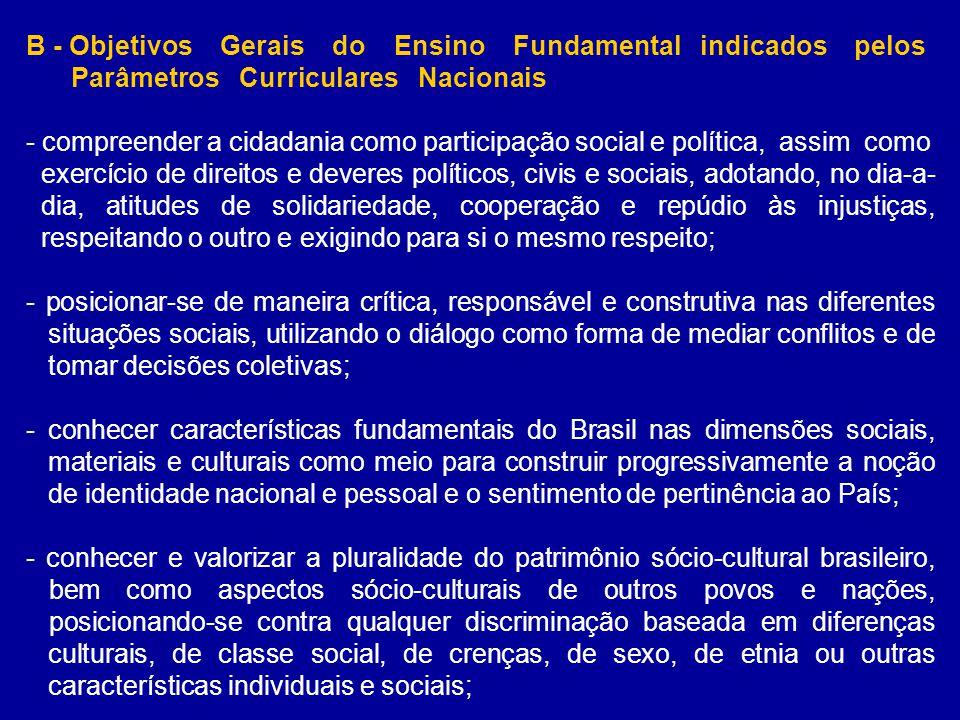 B - Objetivos Gerais do Ensino Fundamental indicados pelos Parâmetros Curriculares Nacionais - compreender a cidadania como participação social e polí