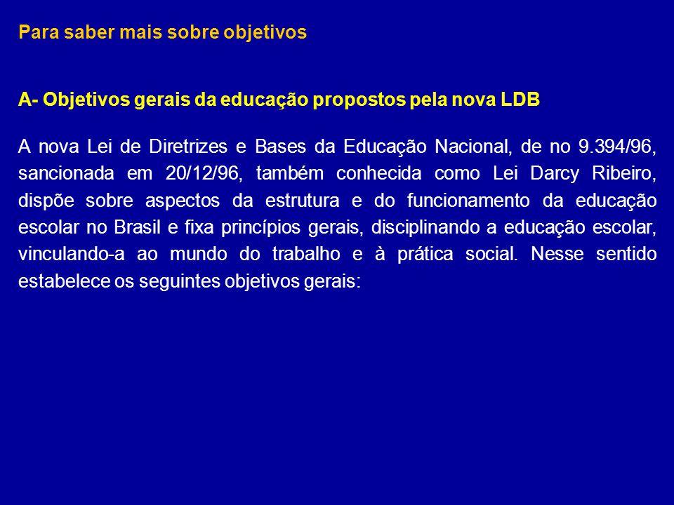 Para saber mais sobre objetivos A- Objetivos gerais da educação propostos pela nova LDB A nova Lei de Diretrizes e Bases da Educação Nacional, de no 9