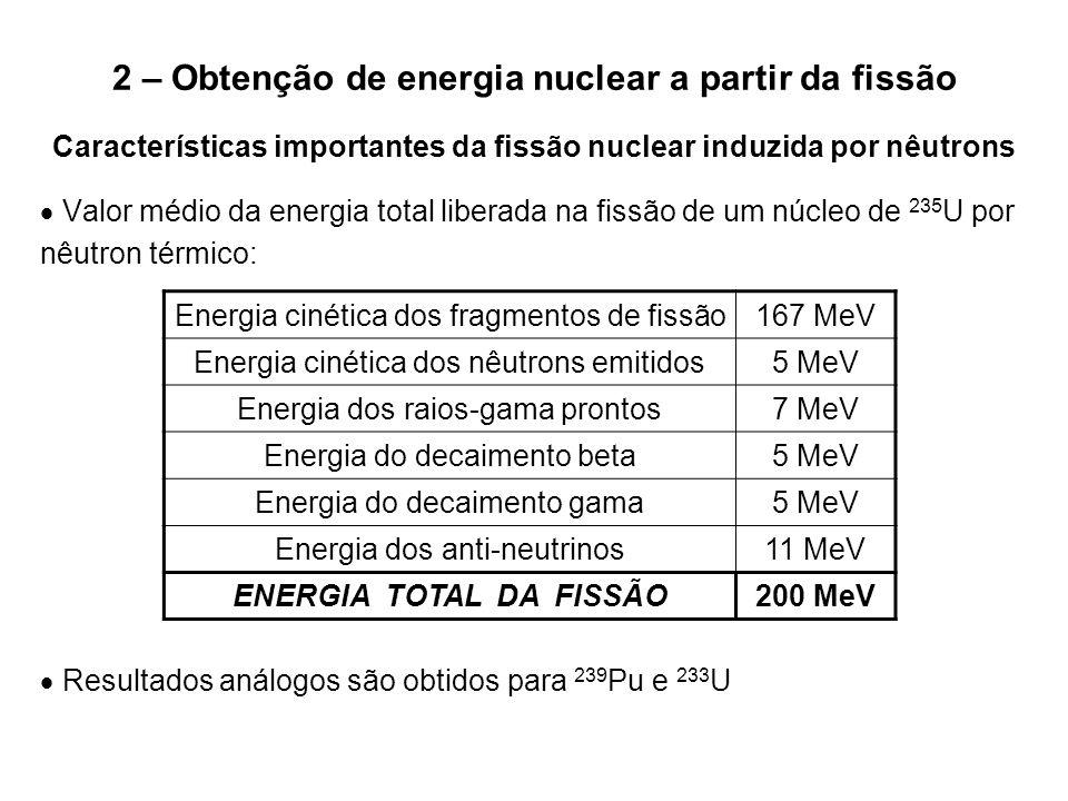 2 – Obtenção de energia nuclear a partir da fissão Características importantes da fissão nuclear induzida por nêutrons  Valor médio da energia total