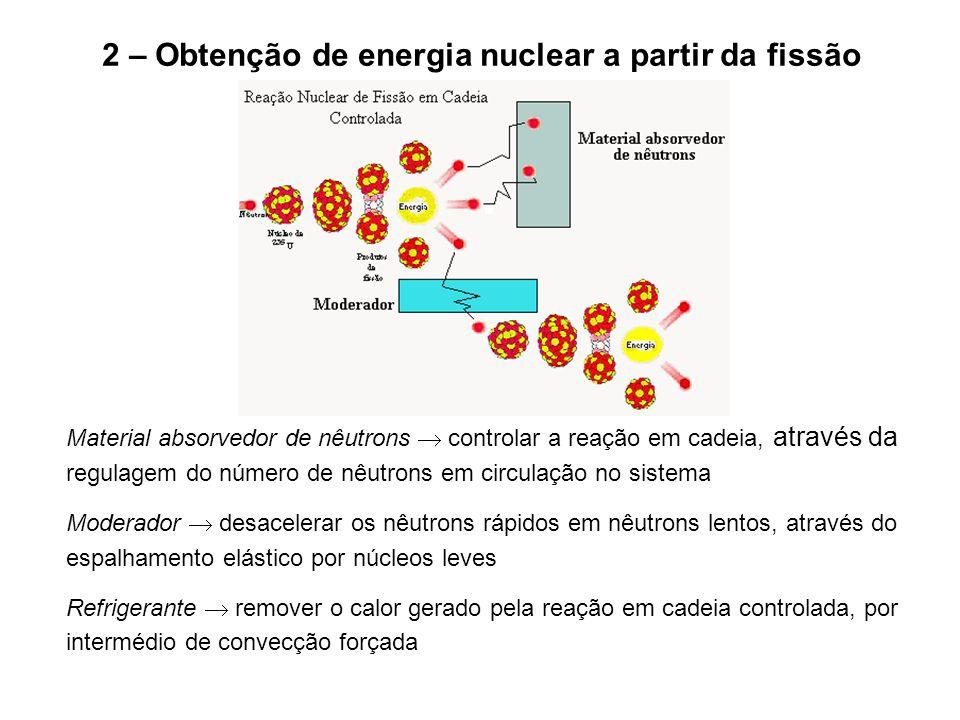 2 – Obtenção de energia nuclear a partir da fissão Material absorvedor de nêutrons  controlar a reação em cadeia, através da regulagem do número de n