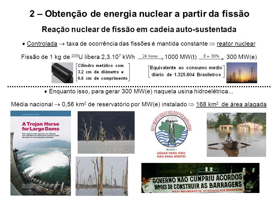 2 – Obtenção de energia nuclear a partir da fissão Reação nuclear de fissão em cadeia auto-sustentada  Controlada  taxa de ocorrência das fissões é