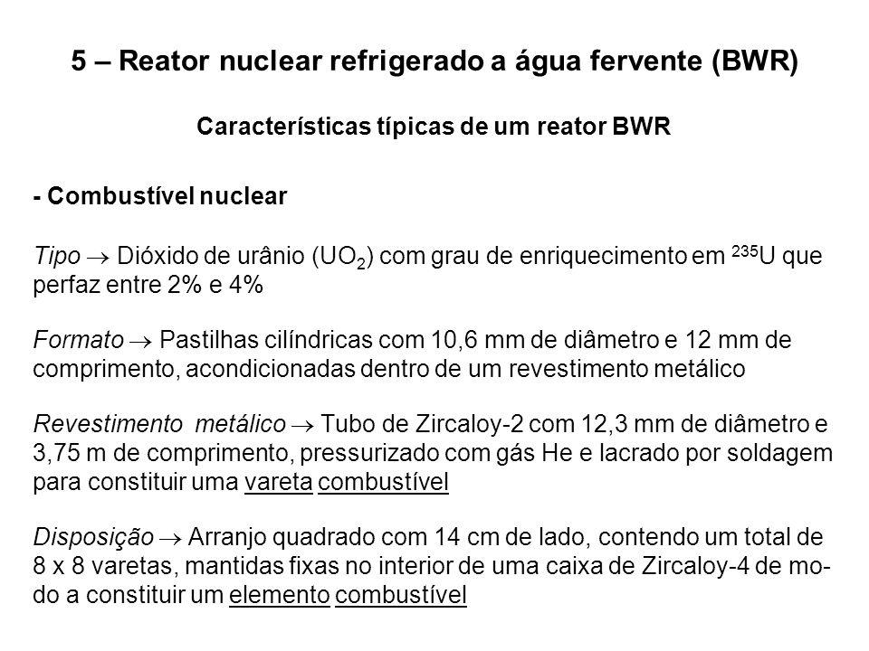 5 – Reator nuclear refrigerado a água fervente (BWR) Características típicas de um reator BWR - Combustível nuclear Tipo  Dióxido de urânio (UO 2 ) c