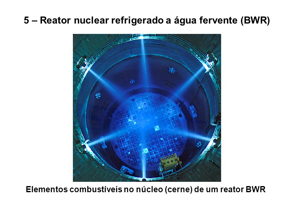 Elementos combustíveis no núcleo (cerne) de um reator BWR