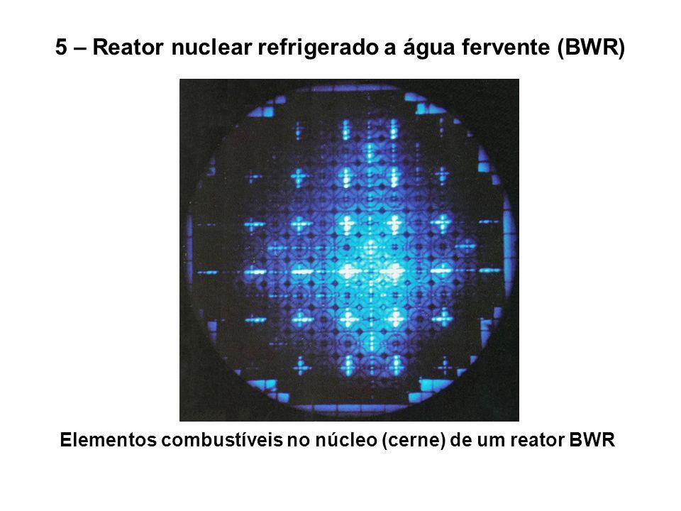 5 – Reator nuclear refrigerado a água fervente (BWR) Elementos combustíveis no núcleo (cerne) de um reator BWR