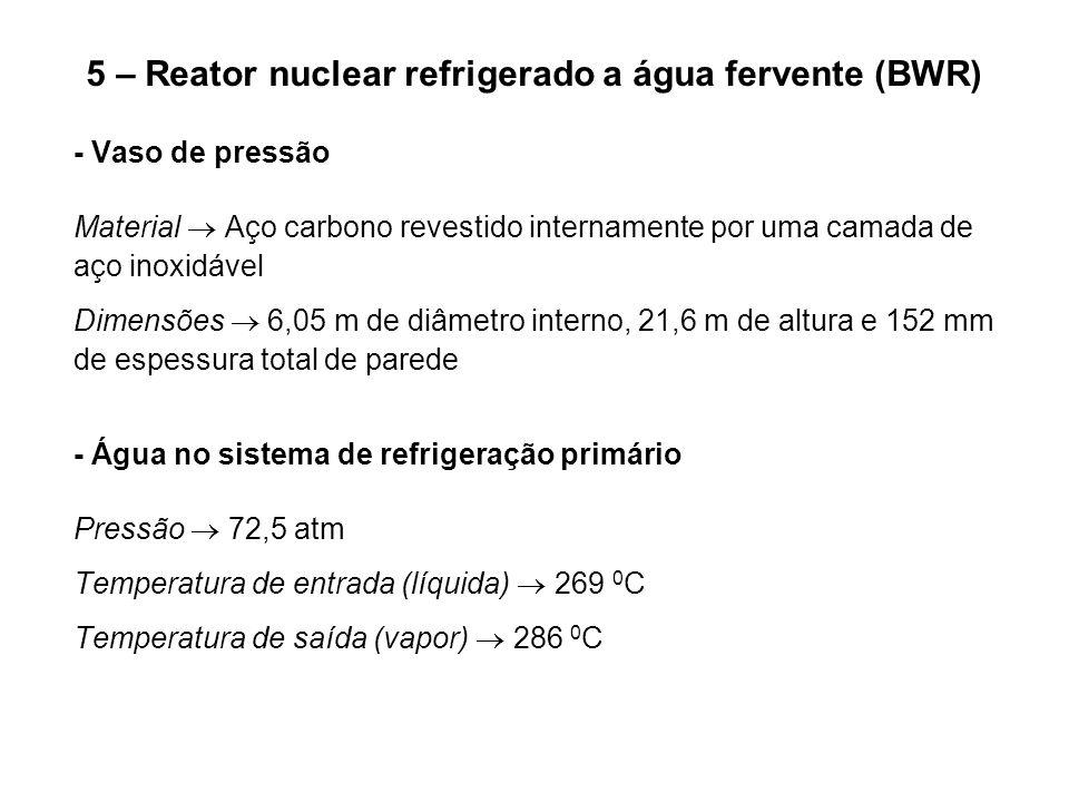 5 – Reator nuclear refrigerado a água fervente (BWR) - Vaso de pressão Material  Aço carbono revestido internamente por uma camada de aço inoxidável