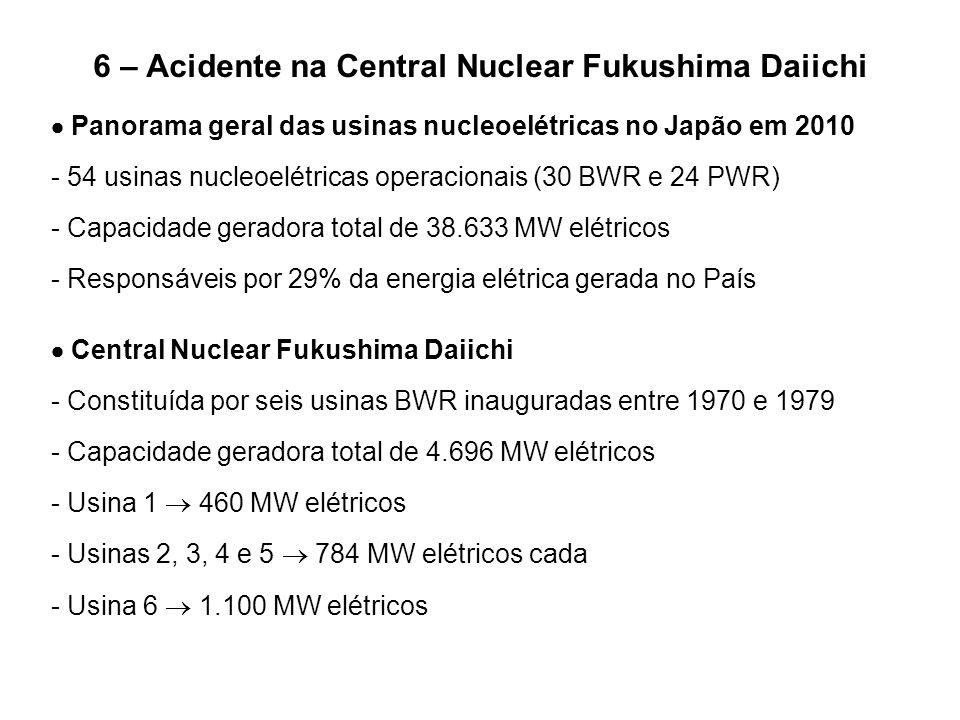 6 – Acidente na Central Nuclear Fukushima Daiichi  Panorama geral das usinas nucleoelétricas no Japão em 2010 - 54 usinas nucleoelétricas operacionai