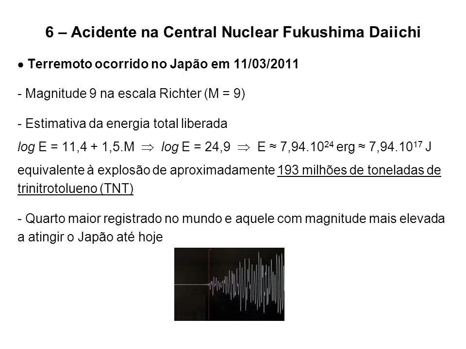 6 – Acidente na Central Nuclear Fukushima Daiichi  Terremoto ocorrido no Japão em 11/03/2011 - Magnitude 9 na escala Richter (M = 9) - Estimativa da