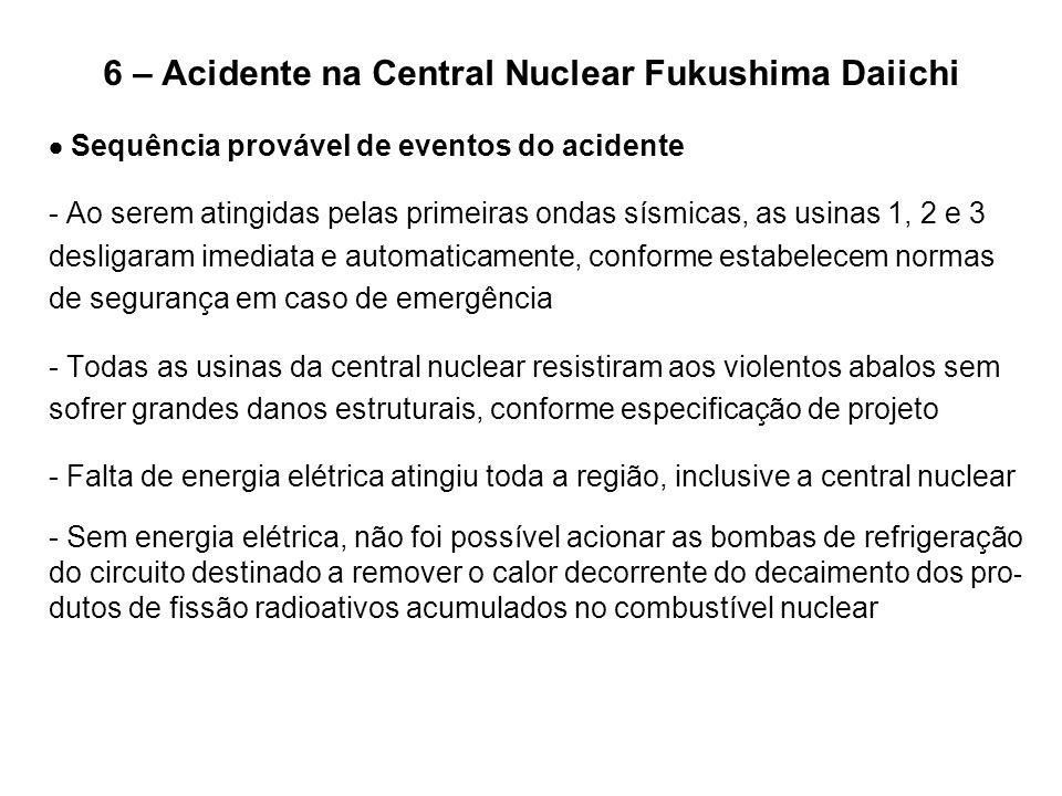 6 – Acidente na Central Nuclear Fukushima Daiichi  Sequência provável de eventos do acidente - Ao serem atingidas pelas primeiras ondas sísmicas, as