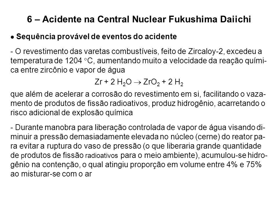 6 – Acidente na Central Nuclear Fukushima Daiichi  Sequência provável de eventos do acidente - O revestimento das varetas combustíveis, feito de Zirc