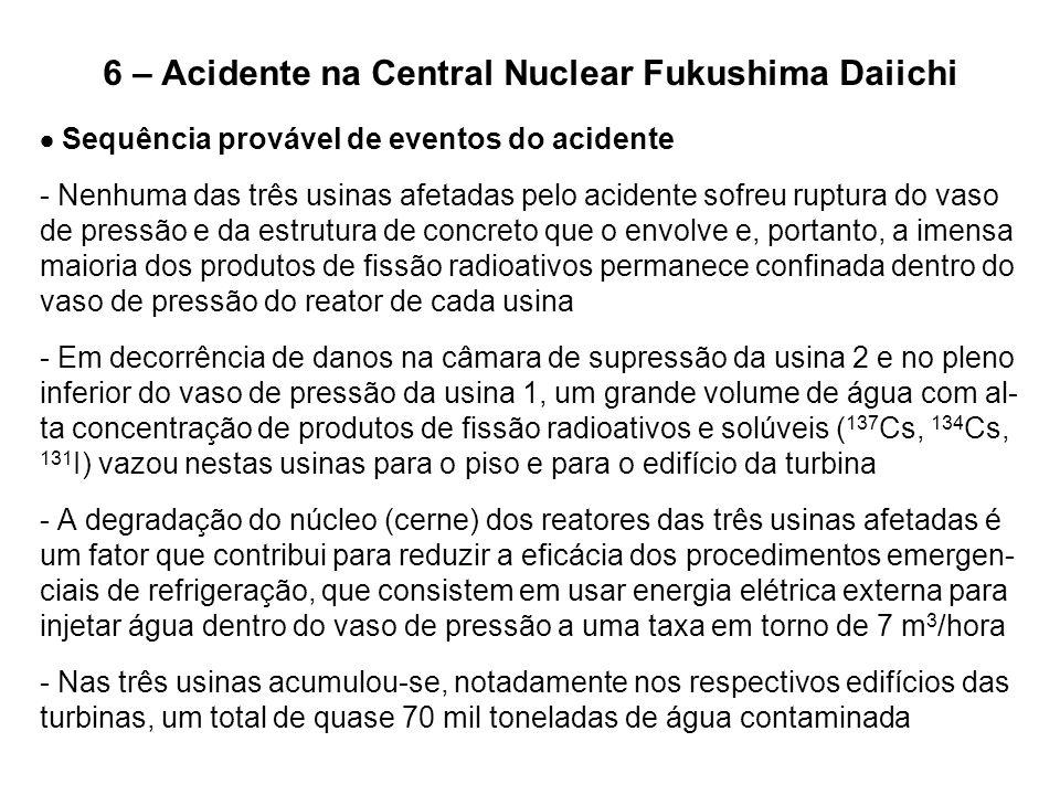6 – Acidente na Central Nuclear Fukushima Daiichi  Sequência provável de eventos do acidente - Nenhuma das três usinas afetadas pelo acidente sofreu
