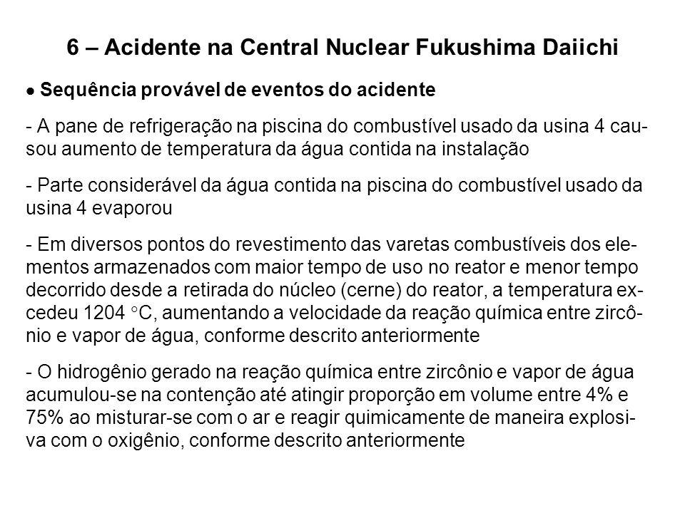 6 – Acidente na Central Nuclear Fukushima Daiichi  Sequência provável de eventos do acidente - A pane de refrigeração na piscina do combustível usado