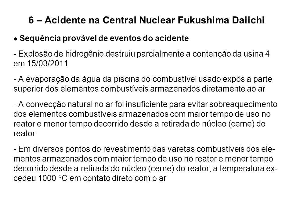 6 – Acidente na Central Nuclear Fukushima Daiichi  Sequência provável de eventos do acidente - Explosão de hidrogênio destruiu parcialmente a contenç
