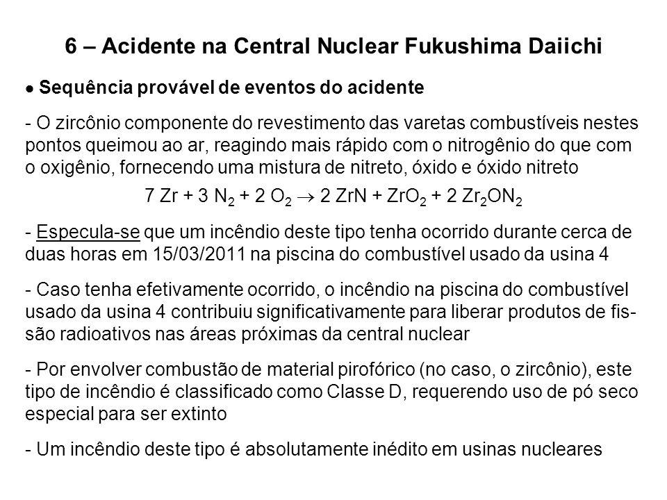 6 – Acidente na Central Nuclear Fukushima Daiichi  Sequência provável de eventos do acidente - O zircônio componente do revestimento das varetas comb