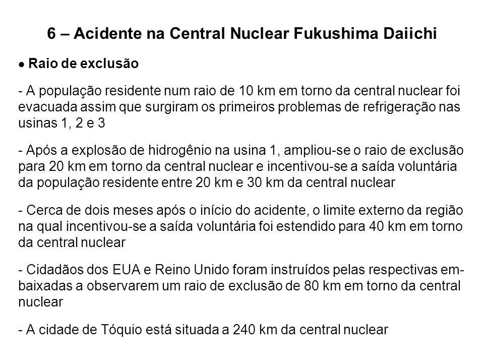 6 – Acidente na Central Nuclear Fukushima Daiichi  Raio de exclusão - A população residente num raio de 10 km em torno da central nuclear foi evacuad
