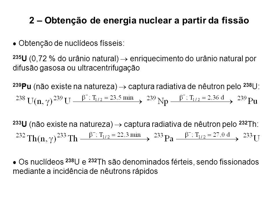 2 – Obtenção de energia nuclear a partir da fissão  Obtenção de nuclídeos físseis: 235 U (0,72 % do urânio natural)  enriquecimento do urânio natura