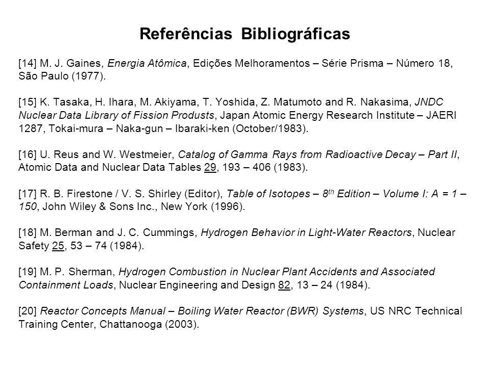 Referências Bibliográficas [14] M. J. Gaines, Energia Atômica, Edições Melhoramentos – Série Prisma – Número 18, São Paulo (1977). [15] K. Tasaka, H.
