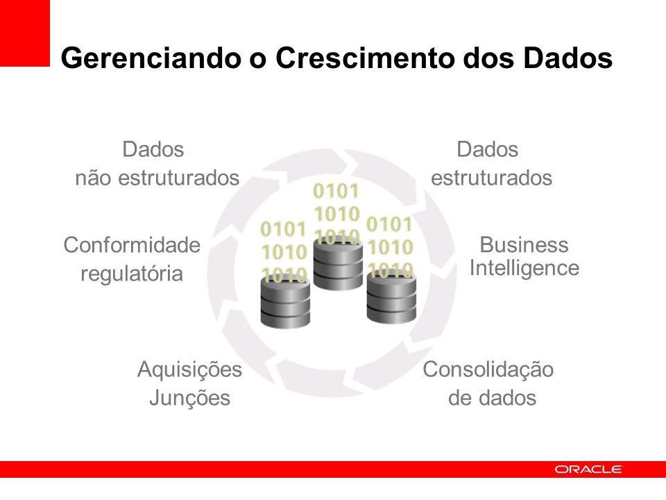 Gerenciando o Crescimento dos Dados Dados não estruturados Dados estruturados Conformidade regulatória Business Intelligence Aquisições Junções Consol