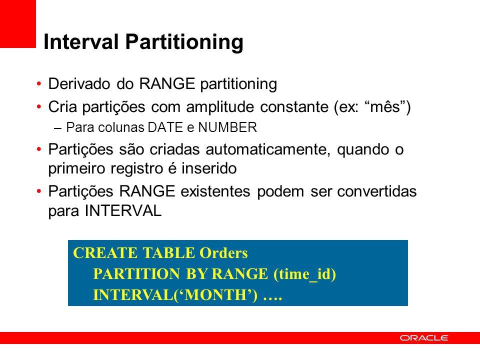 """Derivado do RANGE partitioning Cria partições com amplitude constante (ex: """"mês"""") –Para colunas DATE e NUMBER Partições são criadas automaticamente, q"""