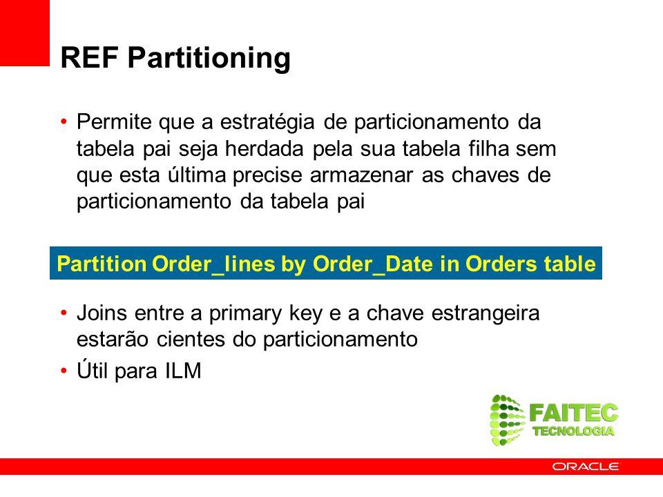 REF Partitioning Permite que a estratégia de particionamento da tabela pai seja herdada pela sua tabela filha sem que esta última precise armazenar as