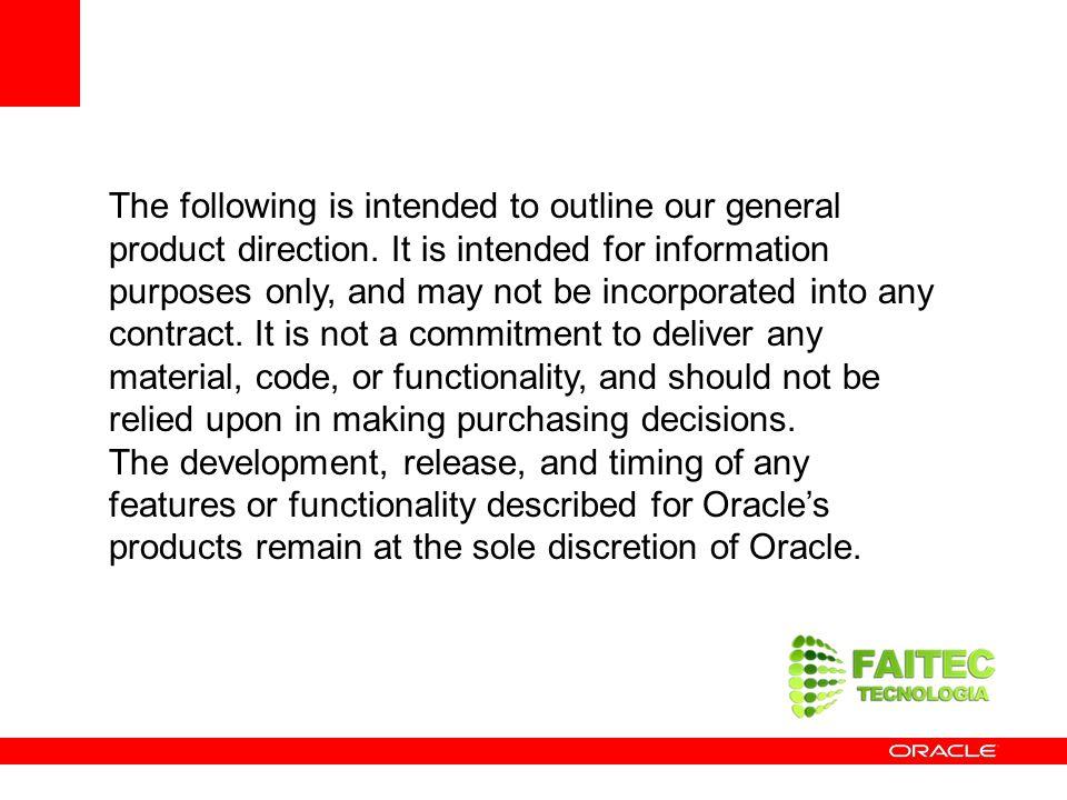 Novidade no Oracle Database 11g Partition Advisor ORDERS JanFeb Europe USA O novo Partitioning Advisor sugere aos administradores automaticamente como particionar tabelas e índices para melhorar o desempenho O Partition Advisor, integrado no SQL Access Advisor, é parte do Oracle Tuning Pack Pode ser usado a partir do Enterprise Manager ou via uma interface de linha de comando