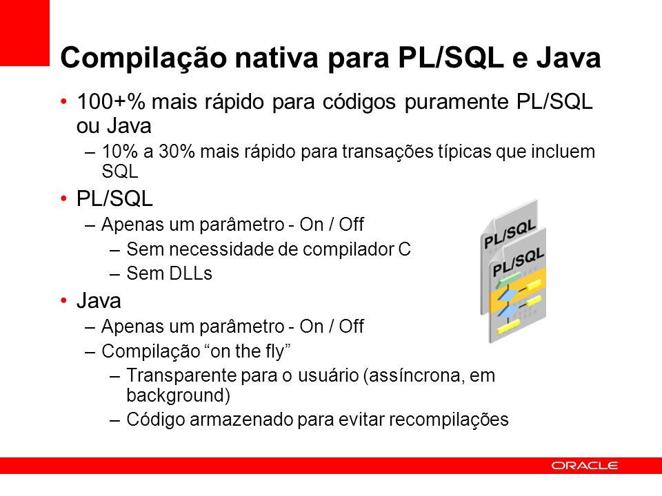 100+% mais rápido para códigos puramente PL/SQL ou Java –10% a 30% mais rápido para transações típicas que incluem SQL PL/SQL –Apenas um parâmetro - O