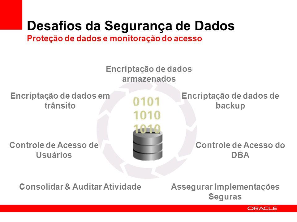 Encriptação de dados armazenados Desafios da Segurança de Dados Proteção de dados e monitoração do acesso Encriptação de dados em trânsito Controle de