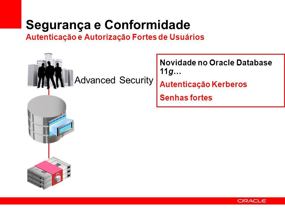 Segurança e Conformidade Autenticação e Autorização Fortes de Usuários Advanced Security Novidade no Oracle Database 11g… Autenticação Kerberos Senhas